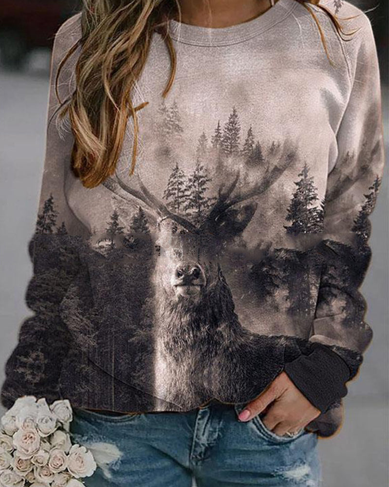 Tree Fawn Print Ladies Autumn/winter Sweater