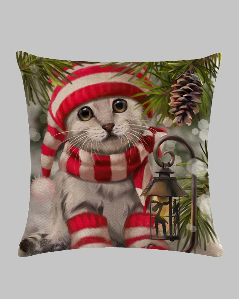 Christmas Cat Print Series Linen Pillowcase
