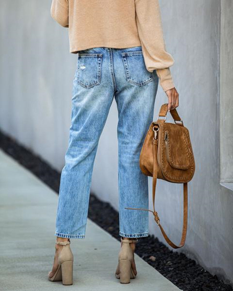 Ripped Fashionable Denim Straight-leg Pants