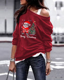 Christmas Santa Claus Casual Sweater Pullover Long Sleeve Top