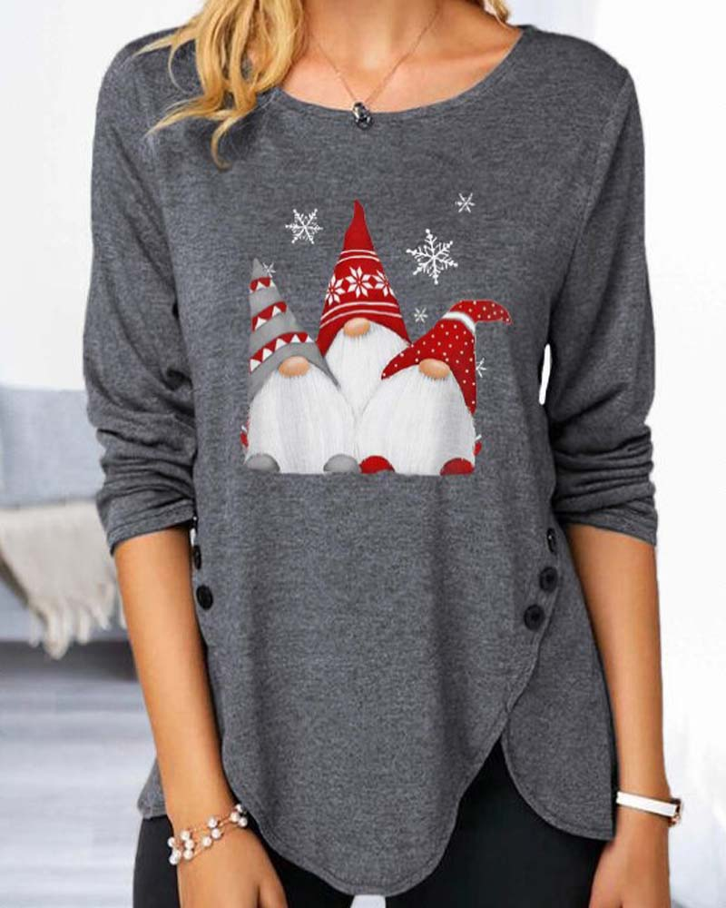 Christmas Button Long Sleeve T-shirt