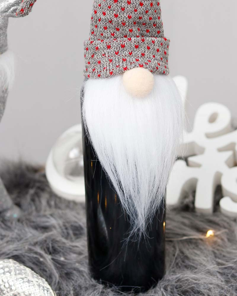 Christmas Faceless Doll Red Wine Bottle Set