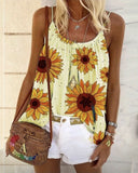 Casual Sunflower Hippie Printed T-shirt Vest Camisole