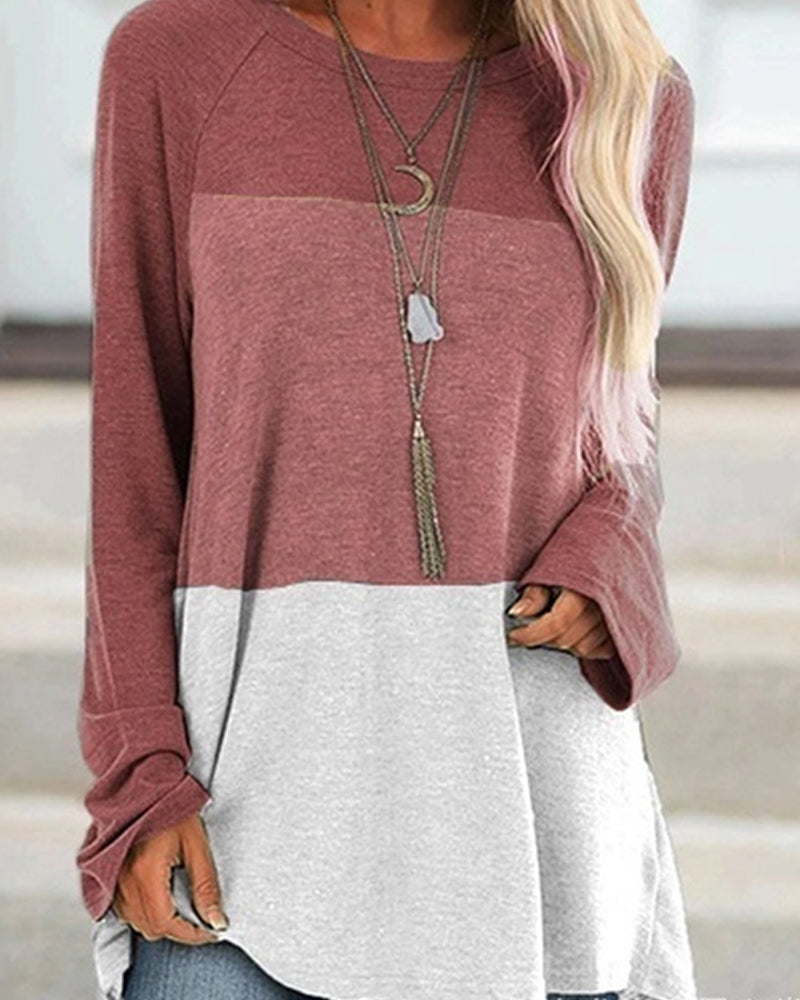 Colorblock Casual Round Neck Long Sleeve Pullover T-shirt
