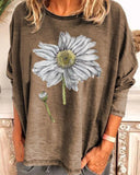 Daisy Print Round Neck Loose Blouse