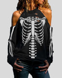 Skull Print Off-shoulder Long-sleeved T-shirt
