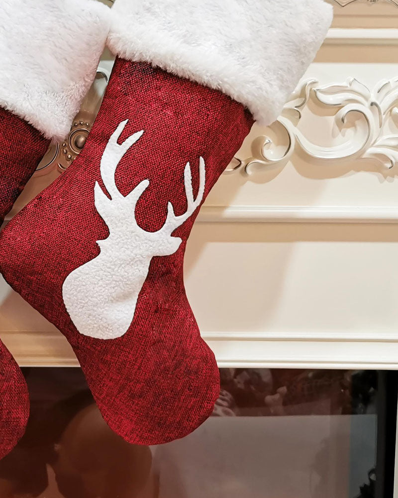 Elk Embroidered Christmas Stocking Pendant
