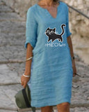 Mid-sleeve V-neck Linen Dress