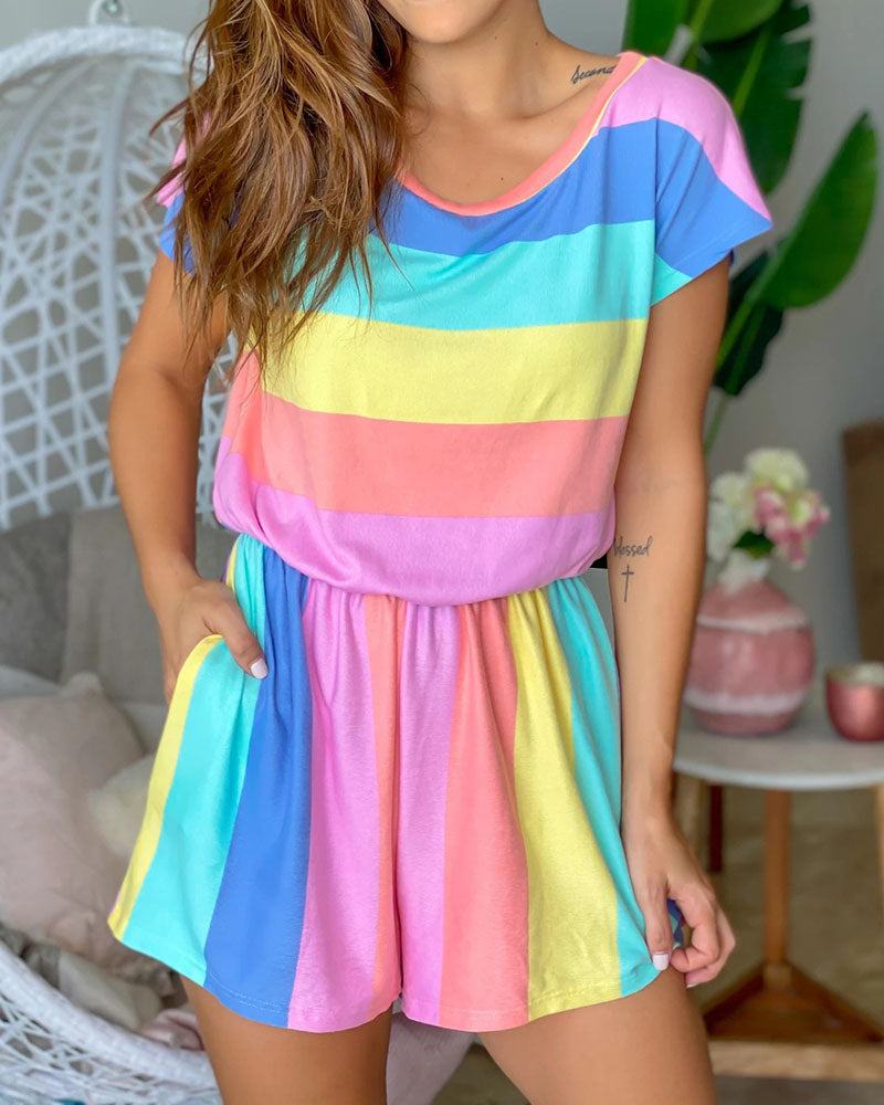 Casual Rainbow Print  Jumpsuit