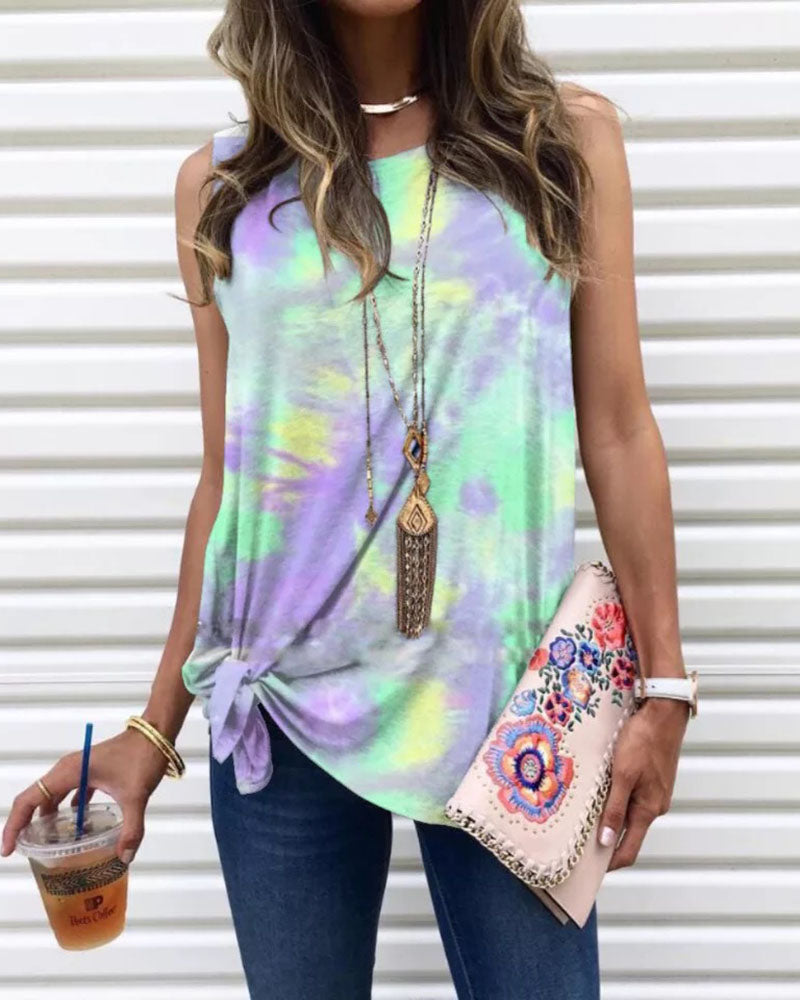 Fashion Tie-Dye Sleeveless Blouse