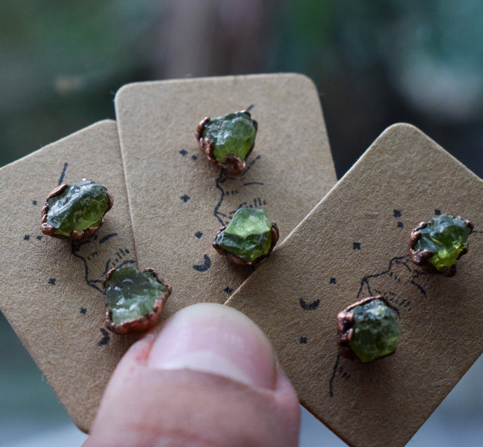 Raw Peridot Studs | Electroformed Earrings | Peridot Earrings
