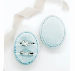 Ice Blue Velvet Oval Ring Box