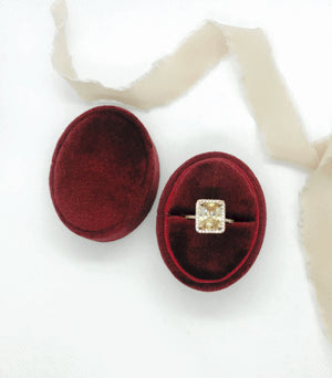 Burgundy Red Velvet Oval Ring Box