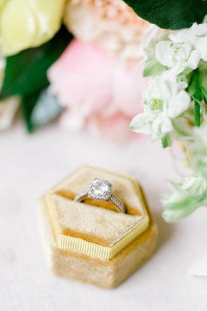 Golden Yellow Velvet Hexagon Ring Box