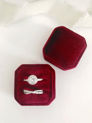 Burgundy Red Velvet Square Octagon Ring Box