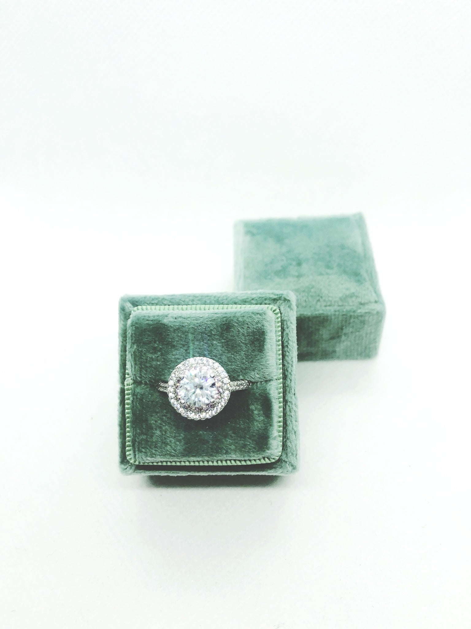 Sage Green Velvet Square Ring Box