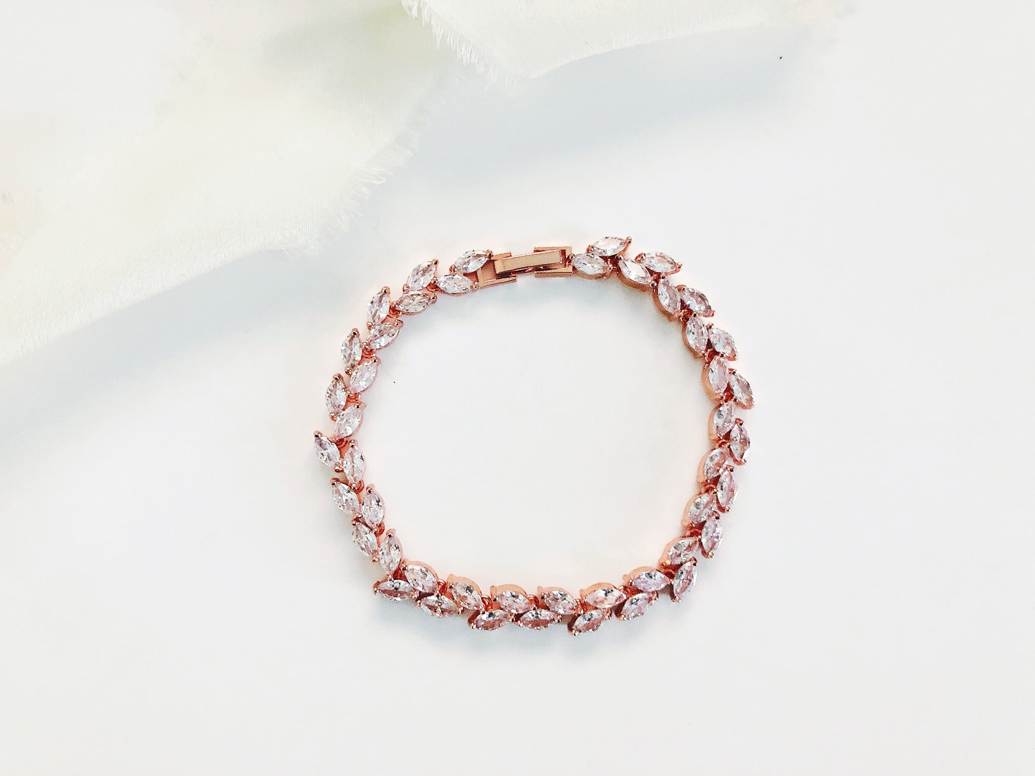 Kelsi Rose Gold Diamond Leaf Tennis Bracelet