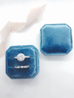 Sky Blue Velvet Square Octagon Ring Box - Clearance