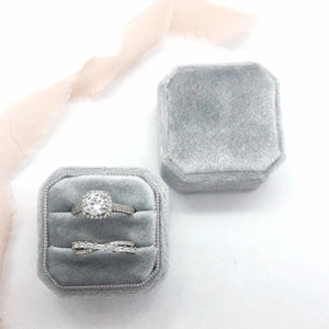 Grey Velvet Square Octagon Ring Box