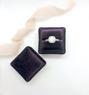 Plum Purple Velvet Square Ring Box - Clearance