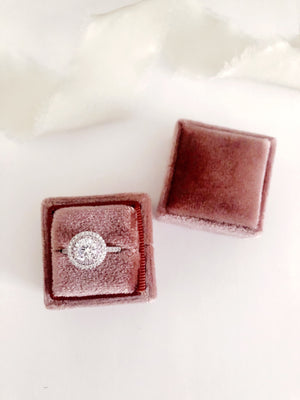 Dusty Rose Velvet Square Ring Box - Clearance