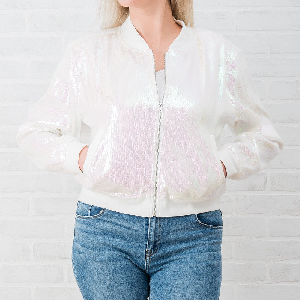Bride Sequin Bomber Jacket