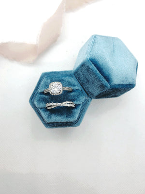 Sky Blue Velvet Hexagon Ring Box