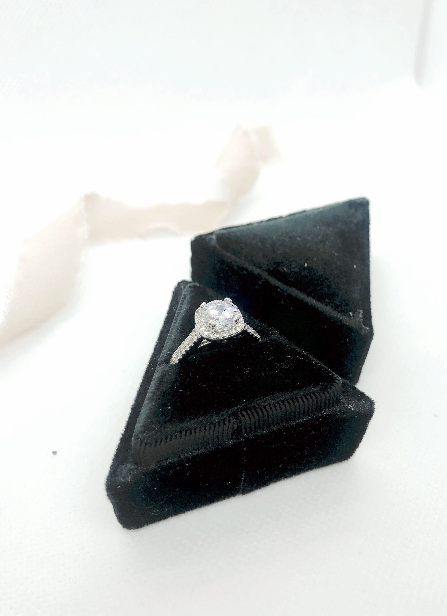 Black Velvet Triangle Ring Box - Clearance