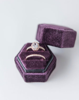Plum Purple Velvet Hexagon Ring Box