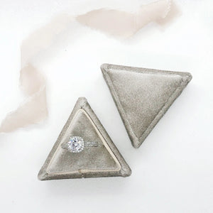 Stone Grey Velvet Triangle Ring Box - Clearance