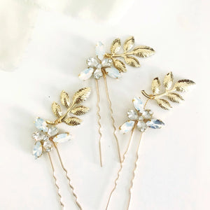 3 Gold Leaf and Opal Rhinestone hair pins