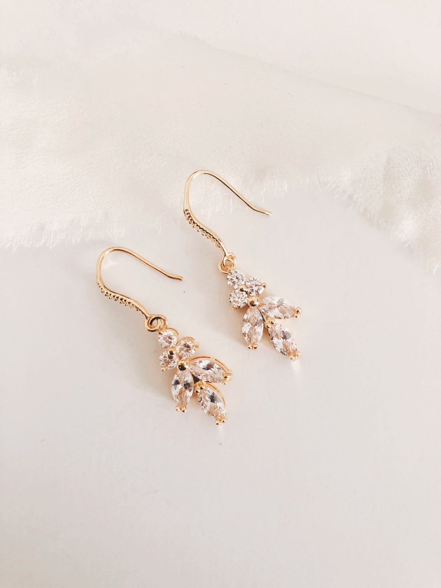 Ellen Gold Diamond Leaf Drop Wedding Earrings