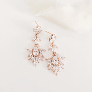 Harriett Rose Gold Chandelier Diamond Statement Wedding Earrings