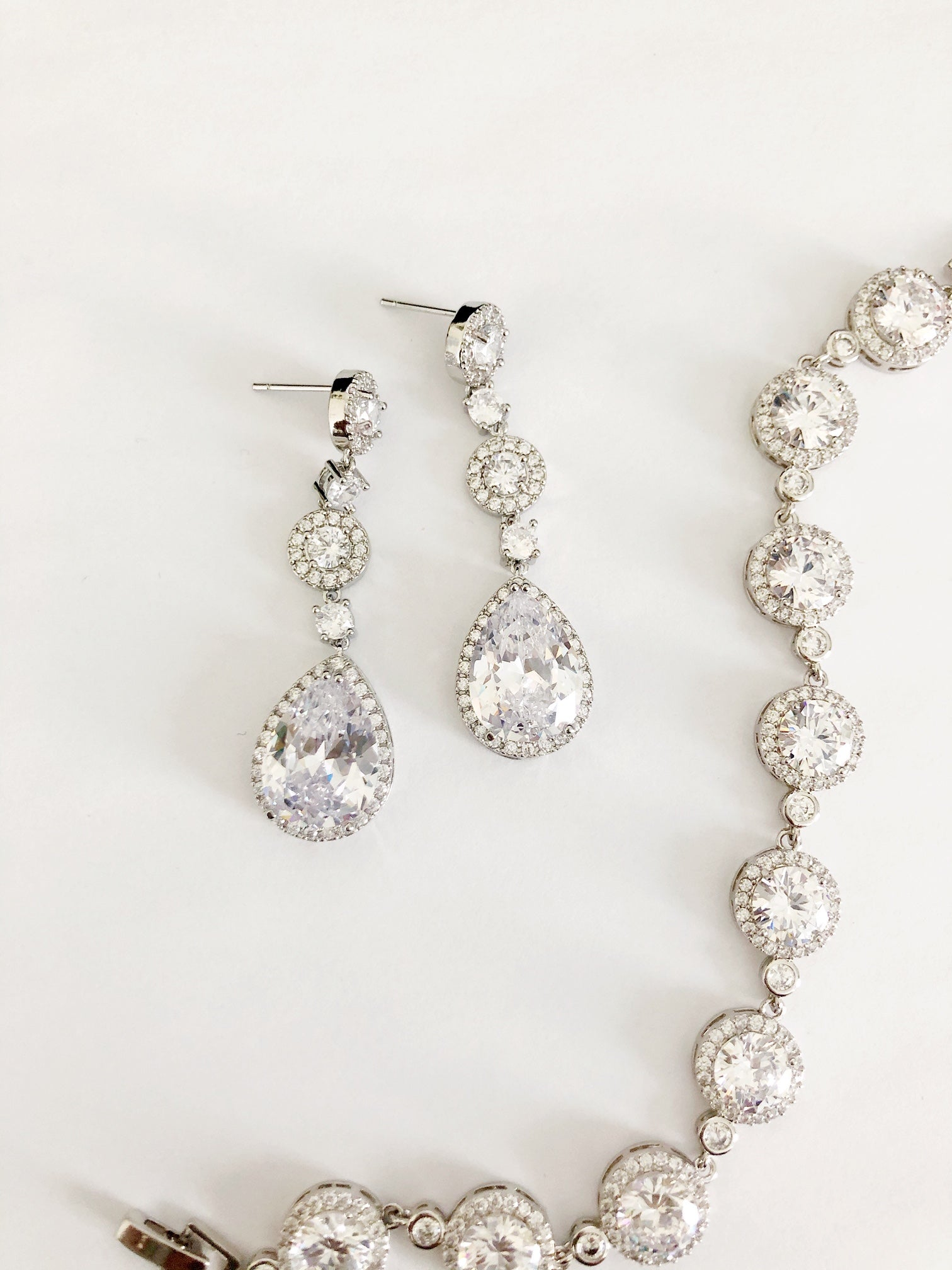 Nola Silver Diamond Earrings and Bracelet Set