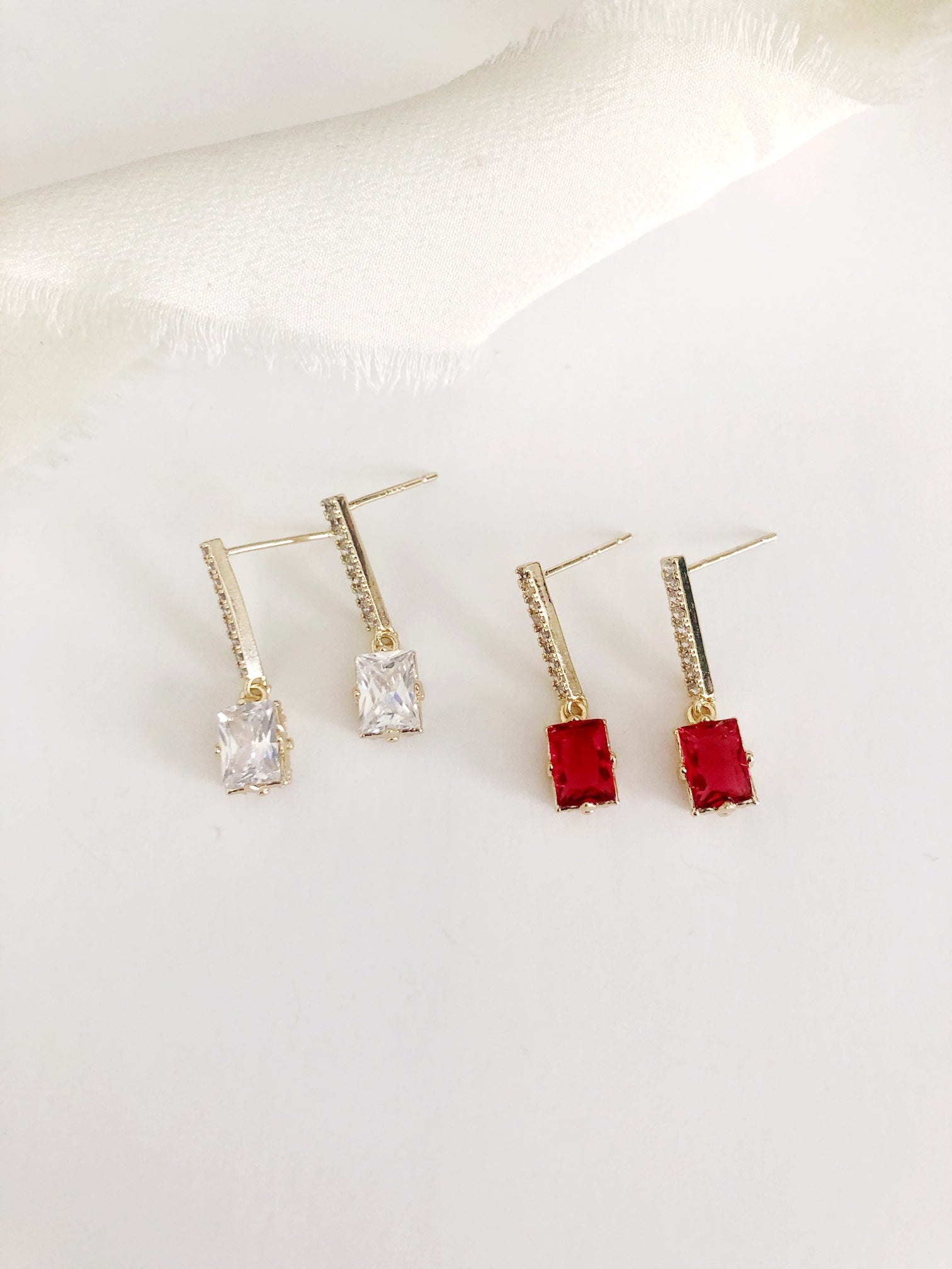 Olivia Ruby Gold Drop Wedding Earrings