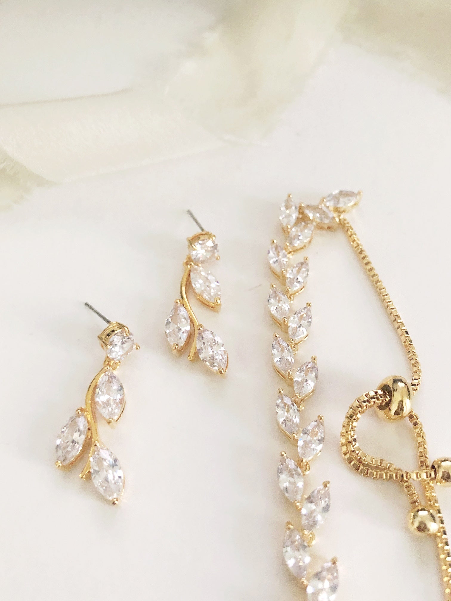 Ferna Gold CZ Diamond Earrings and Bracelet Set