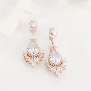 Priscilla Long Rose Gold Diamond Statement Wedding Earrings