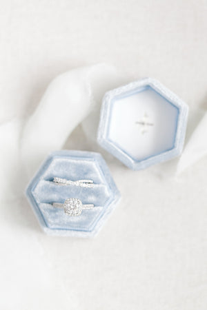 Dusty Blue Velvet Hexagon Ring Box