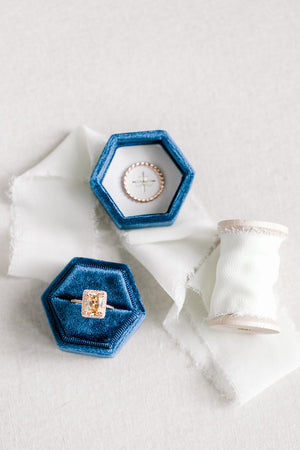 Navy Blue Velvet Hexagon Ring Box