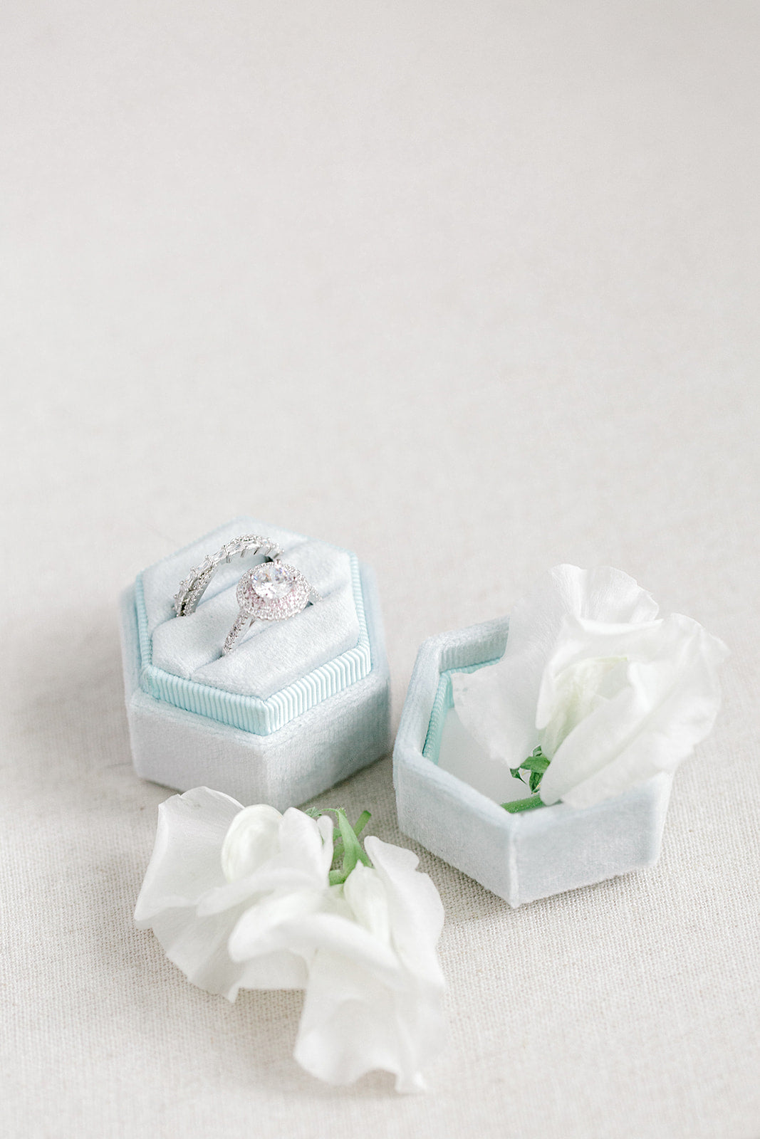 Ice Blue Velvet Hexagon Ring Box