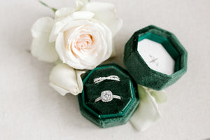 Emerald Green Velvet Round Octagon Ring Box