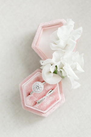 Blush Pink Velvet Hexagon Ring Box
