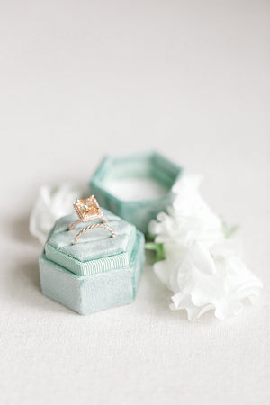 Sage Green Velvet Hexagon Ring Box