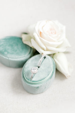 Sage Green Velvet Horizontal Oval Ring Box