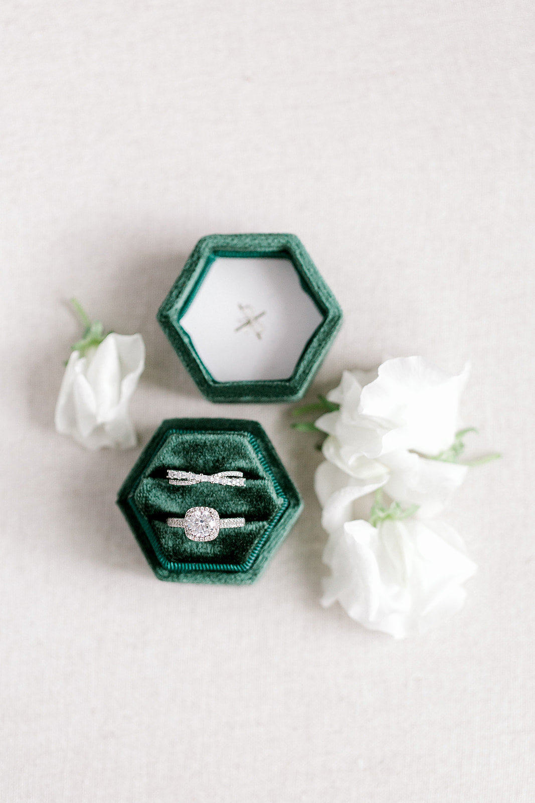 Emerald Green Velvet Hexagon Ring Box
