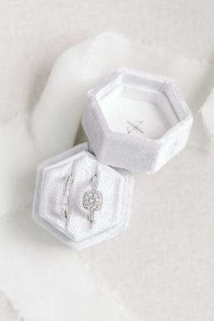Silver Grey Velvet Hexagon Ring Box