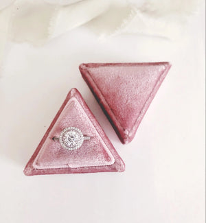 Blush Pink Velvet Triangle Ring Box - Clearance