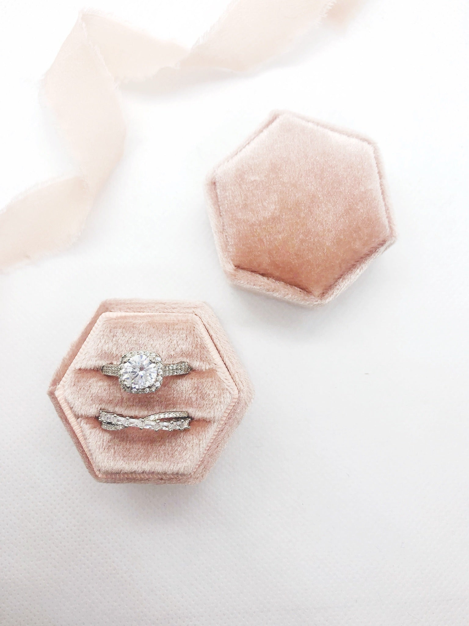 Ballet Pink Velvet Hexagon Ring Box