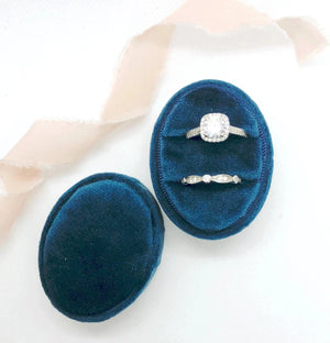 Navy Blue Velvet Oval Ring Box