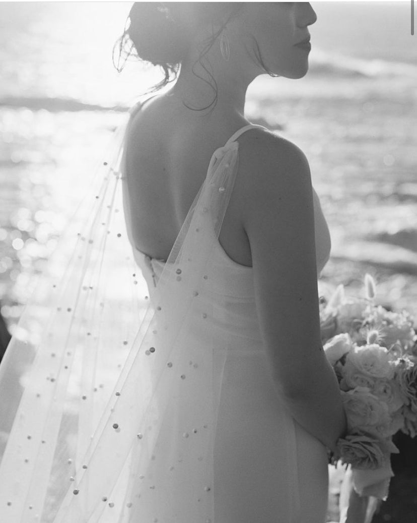 Stassi Pearl Cathedral Bridal Cape Veil